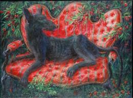 Chien au canapé rouge