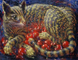 Chat aux cerises